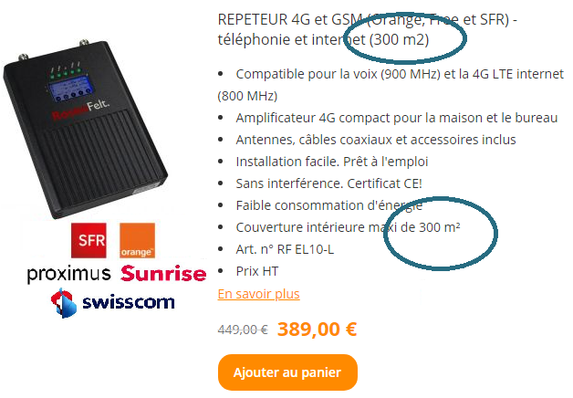 La surface maximale offerte par un amplificateur GSM