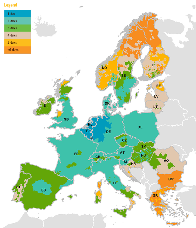 Délais de livraison Europe