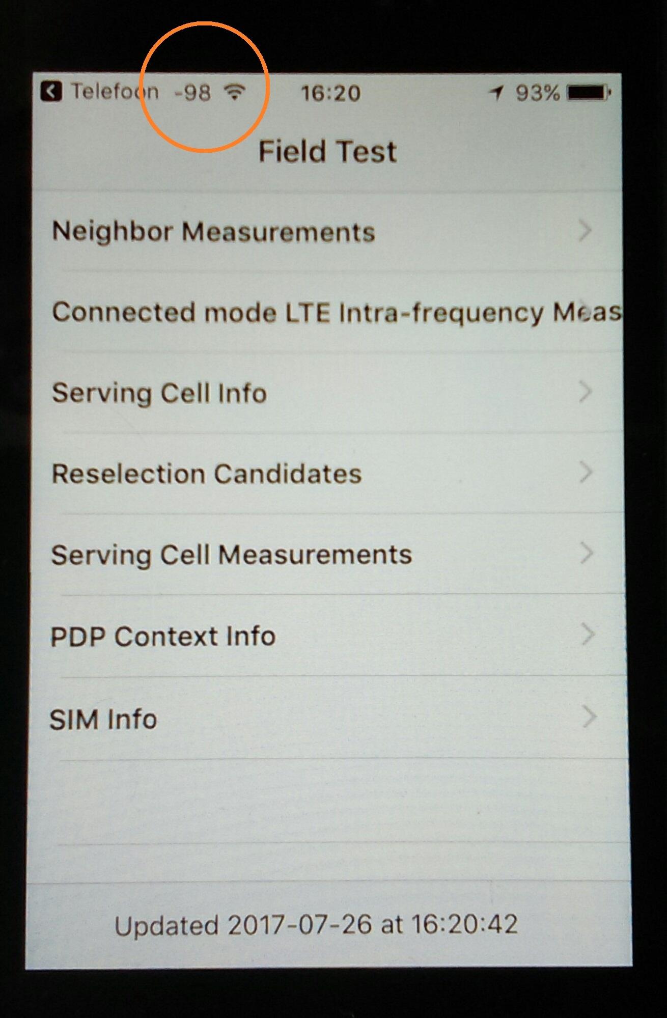 iPhone field measurement screen display